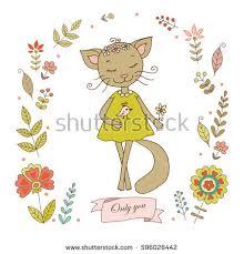 vintage frame design png. Cute Cat With Vintage Frame For Your Design In Doodle Style. Cartoon Illustration Wedding Png