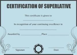 Superlative Certificate Superlative Certificate Template Words Superlative Certificate