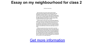 essay on my neighbourhood for class google docs