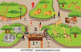 zoo drawing. Wonderful Zoo Zoo Cartoon People Family With Animals Scene Vector Illustration Background  From Top Landscape Drawing To Drawing N