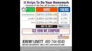 Mortgage Rate Comparison 7 12 17 Youtube