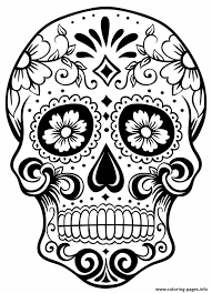 Simple Sugar Skull Coloring Pages Printable