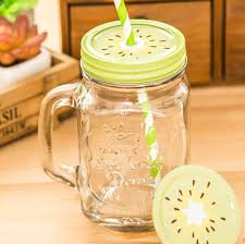 16 floz cyan glass water drinking mason jar glasses with handle lid straw