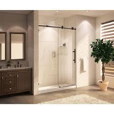 glass sliding shower doors frameless. Wet Republic Mocha Premium 48 In. X 76 Frameless Sliding Shower Door With Glass Doors S
