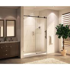 wet republic mocha premium 48 in x 76 in frameless sliding shower door with