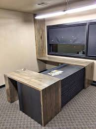 custom office tables. ND -Wood Is Reclaimed 1 X 5 Tongue And Groove Flooring Circa 1910 With A Grey Washed Stain The Steel Portion Hot Rolled Plate Custom Built Office Tables
