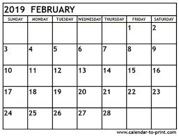 print a calendar 2019 february 2019 calendar printable