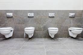 public toilet cubicle stock photo