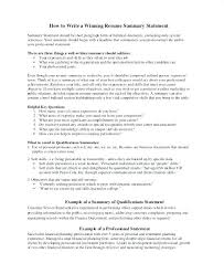 Financial Resume Simple Examples Of Career Summary Statements Example Resume Sample