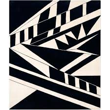 black and white hand knotted modern geometric rug wool uk id f vector