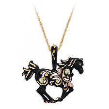 details about black hills gold on black powder coated metal horse pendant necklace