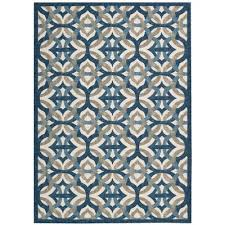 8 x 11 large blue taupe and cream indoor outdoor rug waverly
