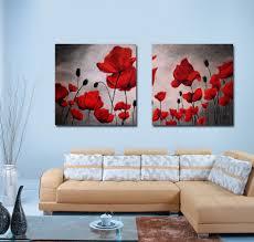 Living Room Art Paintings Aliexpresscom Buy Red Poppy Painting Wall Art Canvas Prints