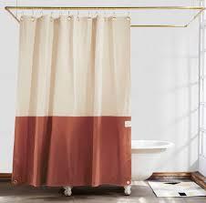 peachy design ideas rust shower curtain orient clay color blocked quiet town