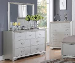 allure furniture. Allure Silver Finish Bedroom Furniture Bed With Tufted Leather Headboard Dresser Mirror T
