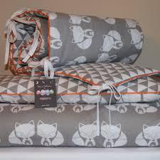 100 cotton cot bed duvet cover set girls boys grey my friend fox orange piping