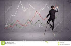 Male On Ladder Drawing Chart Lines Stock Photo Image Of