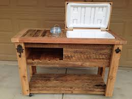 reclaimed wood patio cooler cart with bottom shelf and wine rack for cool outdoor furniture ideas