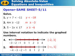2 8 solving absolute value equations and inequalities warm up