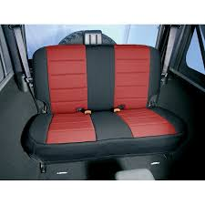 canvas seat covers for trucks all things jeep red and black neoprene rear seat covers for