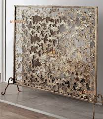antique fireplace screen. french tuscan windsong acanthus leaf antique gold iron fireplace fire screen   ebay b