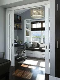 bay window desk home office modern. Excellent White And Gray Modern Home Office With Bay Window Decorating Gloss Chocolate Desk