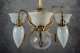 c 1875 electrified t chandelier with etched shades four arm gasolier with decorative hanging glass orbs hanging victorian fixtures including cranberry