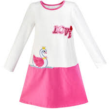 Colors Dress Size Chart Details About Girls Dress Duck Embroidery Long Sleeve Color Contrast Cotton Size 5 10