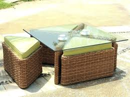 outdoor brown wicker side table rattan and glass coffee set tables for in garden