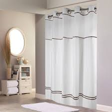 hookless escape with it s a snap peva liner white brown fabric shower curtain shower curtains at hayneedle
