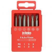 <b>Набор бит Felo</b> Profi PH/PZ 73 мм 6 предметов в кейсе, цена ...