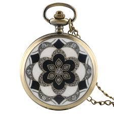 details about retro rhinestones flower women quartz pocket watch necklace pendant chain gifts