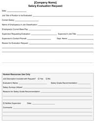 Sample Salary Evaluation Request Form Small Business Free