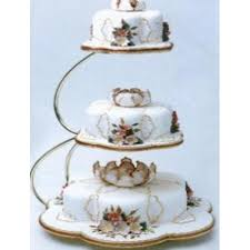e shape 3 tier gold wedding cake stand