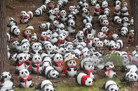 Panda toys are seen in the panda house of the Siberian Tiger Park on July 1