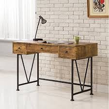 rustic office desk. perfect desk coaster home furnishings analiese modern rustic industrial three drawer  writing desk  antique nutmeg to office
