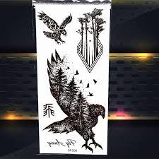 25 стилей летающий лес орел птицы временная татуировка стикер дерево женщины