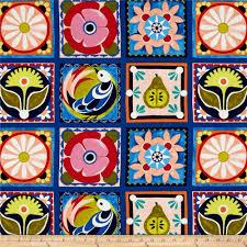 Spanish Fabric Designs Michael Miller Valencia Spanish Tile Blue
