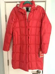 nwt 320 women s north face red winter coat jacket hood 600 down size medium m