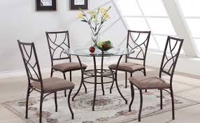 set kings brand round gl metal dining room kitchen table and 4 chairs beveled edge gl top brown color microfiber cushion seat and copper finish