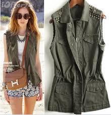 cool women punk rivet olive green military vest jacket