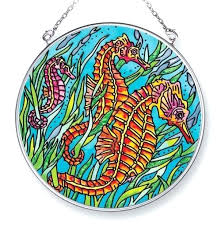 simple stained glass suncatcher patterns free round seahorse seahorses s