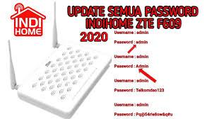 The default username for your zte zxhn f609 is admin. Password Username Modem Zte F609 Indihome Terbaru 25 Maret 2020 Youtube