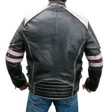 moto biker distressed leather jacket zoom retro