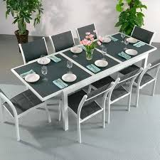 white garden furniture. Modern_Large_8_Seater_Metal_Weatherproof_White_Grey_Glass_Top_Extending_Garden_Furniture_Dining_Table_Set_12 White Garden Furniture M