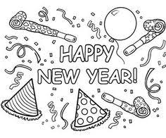 Small Picture INSTANT DOWNLOAD Coloring Page Happy New Year Art Print