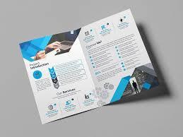 2 Folded Brochure Template Blue Corporate Bi Fold Brochure Template 2 Template Catalog
