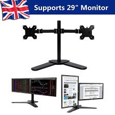 double twin arm desk mount stand lcd led monitor computer 10 29