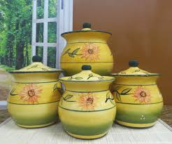 Yellow Canister Sets Kitchen Image 0 Rooster Kitchen Canisters Farmhouse Canister Sets