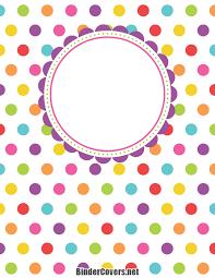 Printable Polka Dot Binder Cover